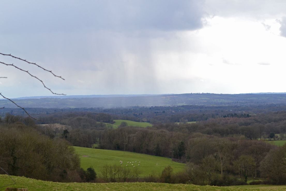 Sleet shower just south of Ide Hill