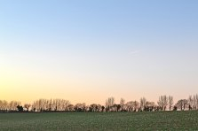 Eynsford-Lullingstone walk. Flinty field sunset, winter