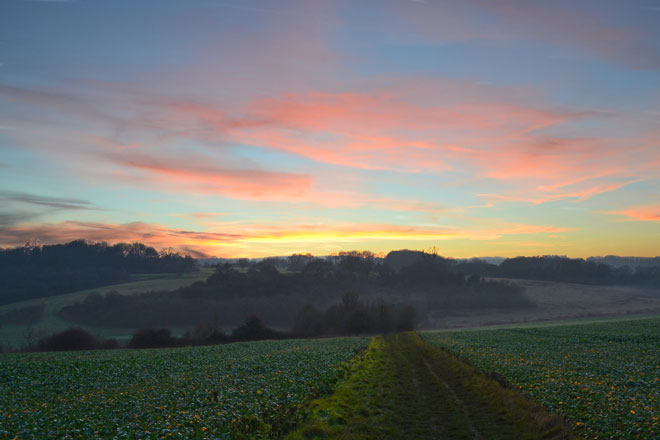 sunset Lullingstone, Kent