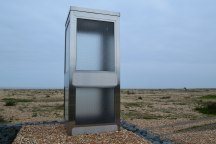 Brexit phone box by The Pilot pub in Dungeness. An art installation