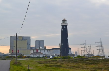 Nuclear power plant, and Old Lighthouse (1904). Base of Wyatt's 1792 lighthouse visible also.